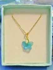 *NEW* GOLD PLATED CRYSTAL BUTTERFLY NECKLACE * TURQUOISE BLUE AB *
