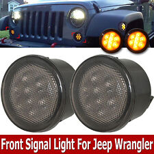 Pair Front Amber Smoked LED Turn Signal Lights Assembly for 07-16 Jeep Wrangler