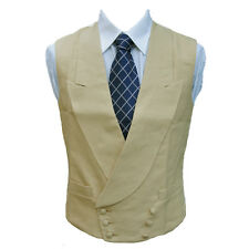 "Double Breasted Irish Linen Waistcoat in Sand 40"" Long"