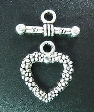 20 Sets Tibetan Silver Dotted Heart Toggle Clasp R714