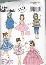 "BUTTERICK SEWING PATTERN 18"" DOLL CLOTHES RETRO 1956 DRESS COAT   B5864"