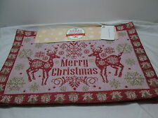 Merry Christmas LUREX MERRY CHRISTMAS 4 Tapestry Placemats ~ Red Reindeer NEW
