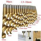 98Pcs 1.5MM-10MM Titanium Coated Metal HSS High Speed Steel Drill Bit Set Tool