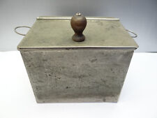 Antique Old Metal Painted Copper Flower Grain Kitchen Container Hinge Lidded Box