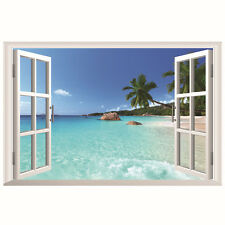 3D Window Ocean Beach Wall Sticker Decals Mural Art Wallpaper Living Room Decor