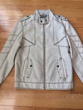 Guess distressed white moto jacket faux leather mens