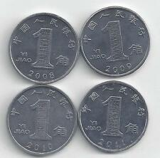 4 DIFFERENT 1 JIAO COINS from the PEOPLE's REPUBLIC of CHINA (2008-2011)