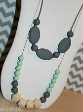 2 Necklaces Silicone Baby Teether Teething Nursing Jewelry Mint Green Gray Beige
