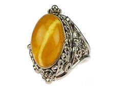 Art Deco 925 Silber Natur Karamel Amber Bernstein Damen Ring