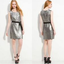 DKNY Zinc Gray Sequins Silk Sleeveless Dress $345 size 8  **Missing Black Belt**