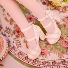 Sweet Candy Womens Lolita Round Toe Bow Wing Tip Mary Jane Block High Heel Shoes