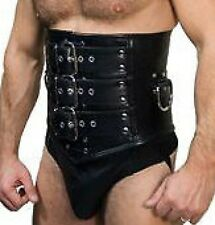 "Mans GENUINE LEATHER STEEL BONED CORSET GIRDLE 36"" to 44"" (76cm - 111cm) Waist"