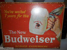 BUDWEISER (the NEW), METAL WALL SIGN 40X30CM, BEER/PUB/BAR/KITCHEN/SALOON