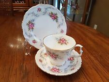"VINTAGE ROYAL ALBERT ""TRANQUILITY"" FOOTED CUP AND SAUCER TRIO 6 INCH PLATE"