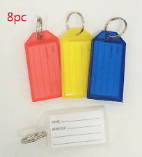8pc Key ID Label Tags Key Ring Holder Tags Key Chain With Write-on Label Window