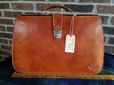 VINTAGE HANDMADE BASEBALL GLOVE LEATHER COGNAC GLADSTONE BRIEFCASE BAG R$1498
