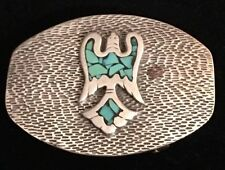 VTG Handmade STERLING SILVER & TURQUOISE Native American Peyote Bird BELT BUCKLE