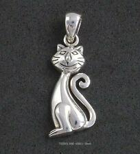 HAPPY CAT CURLY TAIL Pendant 925 Sterling Silver Sea Gems pagan witch familiar