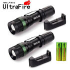 2 x5000LM Rechargeable Zoomable T6 LED Flashlight Torch+18650 Battery&Charger US