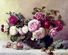 Pink Roses In Vase~counted cross stitch pattern #286~Flowers Garden Floral Chart