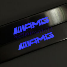For Mercedes-Benz AMG W210 W211 W212 Blue LED Light Door Sill Scuff Plate Guards