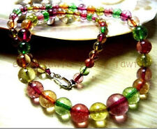 Natural beauty 6-12mm Multicolor Tourmaline Round Beads Necklace 18""