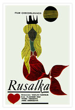 Cuban movie Poster for film Polish RUSALKA.Crying Blonde MERMAID in Red.Sirena.