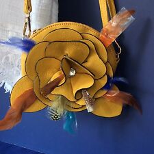 GOLDEN YELLOW SMALL FLOWER FEATHER RHINESTONE BLING SHOULDER X-BODY BAG PURSE