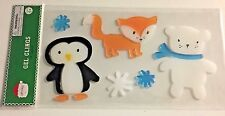 Winter Penguin  Fox Polar Bear Fun  Snowflakes  Window Gel Sticker Cling Decor