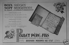 PUBLICITÉ 1949 POULET PÈRE & FILS à BEAUNE 2 SIÈCLES 7 GÉNÉRATIONS - ADVERTISING