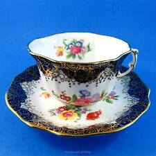 Cobalt Blue and Floral Hammersley Tea Cup and Saucer Set