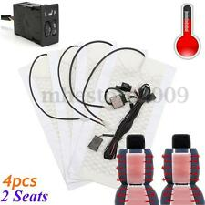 Universal 2 Seats 12V Carbon Fiber Seat Heater Smart Pads 2 Dial 5 Level Switch