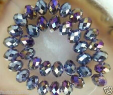 136PCS 6X8MM AB Violet Multicolor Crystal Faceted Gems Loose Beads