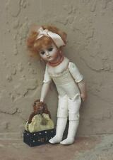 "6""ANTIQUE FRENCH/GERMAN CHILD DOLL BUTTON HINGED JOINTED LEATHER BODY PATTERN"