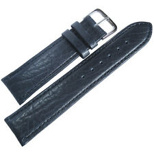 20mm Mens Fluco Record SHORT Blue Buffalo-Grain Leather German Watch Band Strap