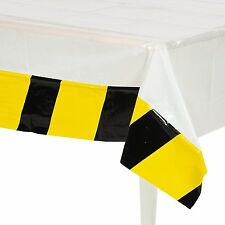 Caution Stripe Table Cover, Construction Birthday Party Tablecloth, Dump Truck