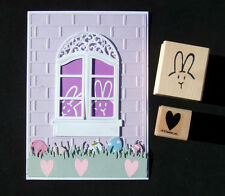 Cute Little PEEKING BUNNY FACE + Stampin Up HEART wood mounted rubber stamps HTF