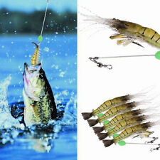 5X 10cm Silicone Shrimp Fishing Simulation Noctilucent Soft Prawn Lure Hook Bait