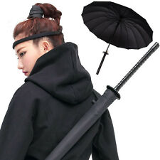 Cosplay Samurai Sword Handle Umbrella Rain Windproof With Pouch Bag Black