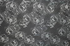 Polyester Cotton Elastane Sketched Floral Denim Type Dress Fabric Material