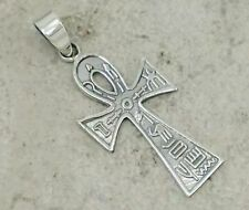 EXOTIC .925 STERLING SILVER EGYPTIAN ANKH CROSS PENDANT/ITALIAN BOX LINK CHAIN
