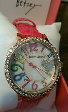 Betsey Johnson Multi-colored Numericals Pink strap Laydies Watch  Crystals Heat