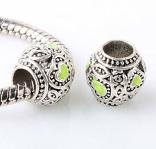 5pcs Tibetan silver love lampwork spacer beads fit Charm European Bracelet AR367