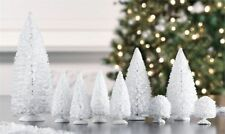 Set of 9 Mini Snowy White Sisal CHRISTMAS TREES ~ Snow Frost Village Putz