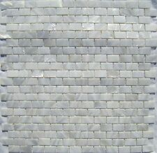 """Genuine Mother of Pearl White 5/8"""" x 1"""" Brick Tile (on 12"""" x 12"""" mesh)"""