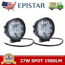 2PCS 27W Cree Round LED Work Light Bar Driving Lamp Spot Truck Offroad UTE 4WD