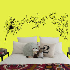 Dandelion Wall Decals Flower Music Notes Vinyl Decal Sticker Bedroom Decor kk135
