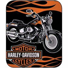 Harley Davidson Motorcycle with Flame Plush Fleece Sherpa Throw/Blanket Twin