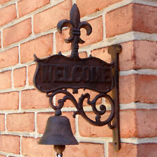 Metal Wall Mount Fleur De Lis Welcome Bell Rustic Garden/Patio/Front Door Decor