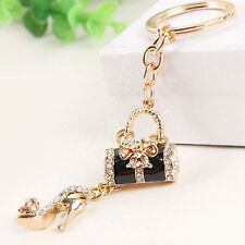 Black Handbag High-heel Shoe Bag Butterfly Pendant Crystal Key Ring Chain Gift